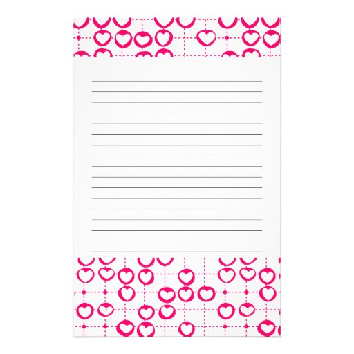 Pink Valentine's hearts Stationery