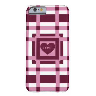 Pink Valentines plaid Barely There iPhone 6 Case