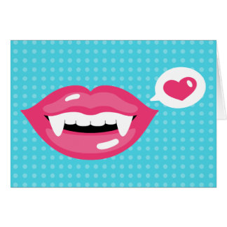 Pink Vampire Lips With A Heart Greeting Card