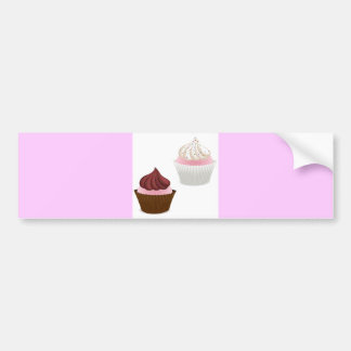 PINK VANILLA CHOCOLATE CUPCAKES SPRINKLES BAKING B BUMPER STICKER