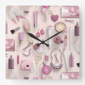 Pink Vanity Table Square Wall Clock