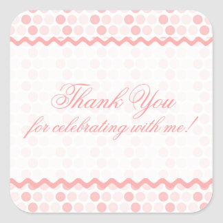 """Pink Variation Dots """"Thank You"""" Stickers"""