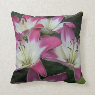 Pink Variegated with White Lilies Throw Pillows