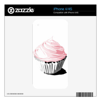 Pink vector cupcake phone skin decal for iPhone 4
