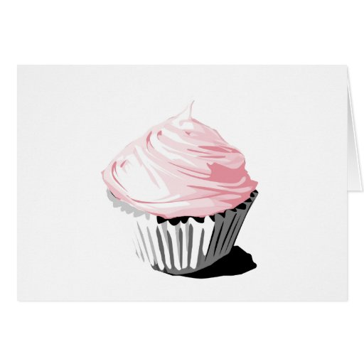 Pink vector cupcake template products greeting cards
