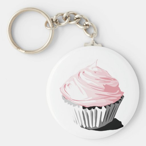 Pink vector cupcake template products keychain