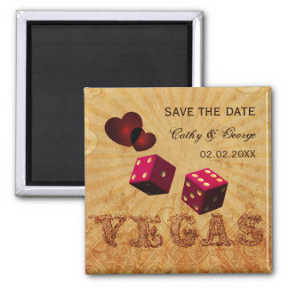 pink Vegas Vintage save the date magnets