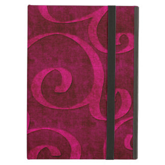 Pink Velvet Embossed Look Swirls On Red Case For iPad Air