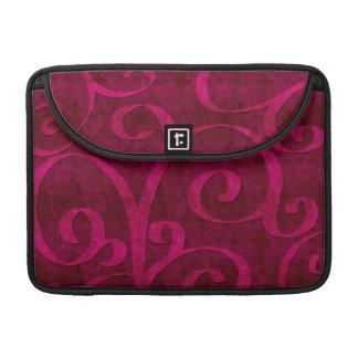Pink Velvet Embossed Look Swirls On Red Sleeve For MacBook Pro