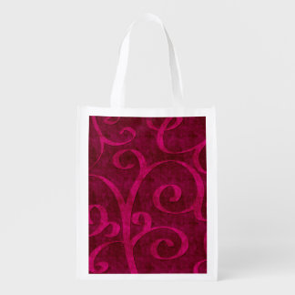 Pink Velvet Embossed Look Swirls On Red Reusable Grocery Bag
