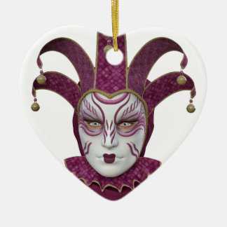 Pink Venetian Carnivale Mask Ceramic Ornament
