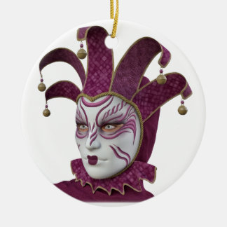 Pink Venetian Carnivale Mask in Profile Ceramic Ornament