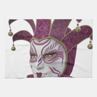 Pink Venetian Carnivale Mask in Profile Hand Towel
