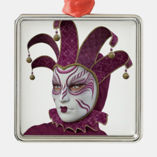 Pink Venetian Carnivale Mask in Profile Metal Ornament