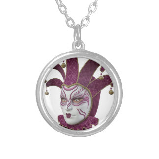 Pink Venetian Carnivale Mask in Profile Silver Plated Necklace