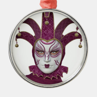 Pink Venetian Carnivale Mask Metal Ornament