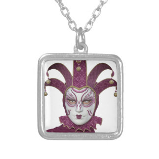 Pink Venetian Carnivale Mask Silver Plated Necklace