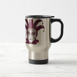 Pink Venetian Carnivale Mask Travel Mug