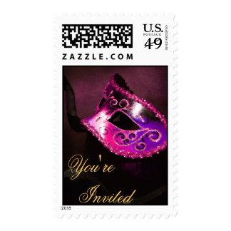 Pink Venetian Masquerade Halloween Postage