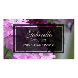 Pink Verbena Flower Business Cards