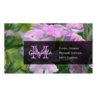 Pink Verbena Flower : Monogram Business Cards