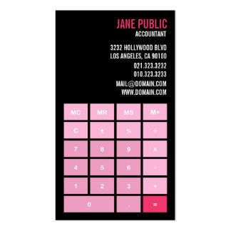 Pink Version Accountant Calculator Business Card