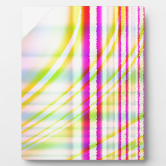 Pink Vertical Lines with Yellow Curved Abstract Plaque