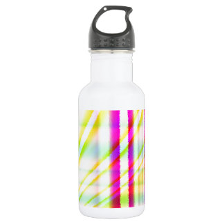 Pink Vertical Lines with Yellow Curved Abstract Stainless Steel Water Bottle