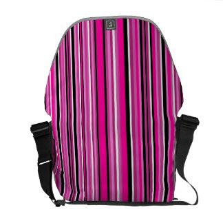 Pink Vertical Stripe Messenger Bag
