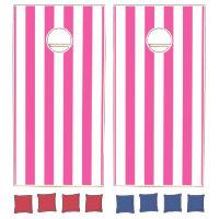 Pink Vertical Stripes Cornhole Set