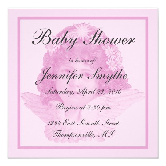 Pink Victorian Angel Baby Shower Invitation