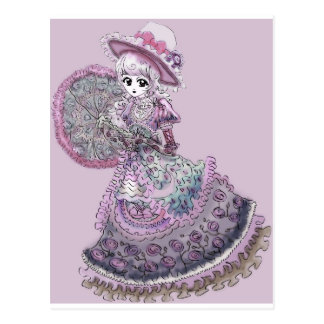 Pink Victorian Anime Girl Gothic Lolita Vintage Postcard