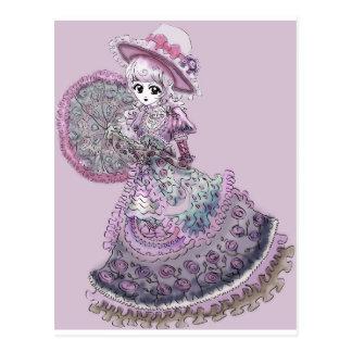 Pink Victorian Anime Girl Gothic Lolita Vintage Postcard