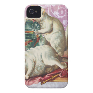 Pink Victorian Cats Fish Bowl Case-Mate iPhone 4 Cases