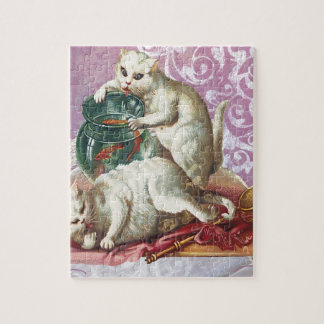 Pink Victorian Cats Fish Bowl Jigsaw Puzzle