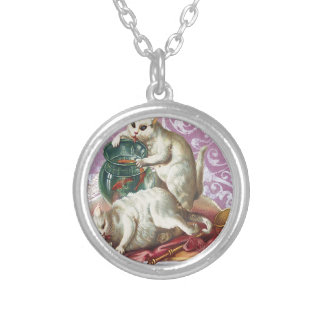 Pink Victorian Cats Fish Bowl Round Pendant Necklace