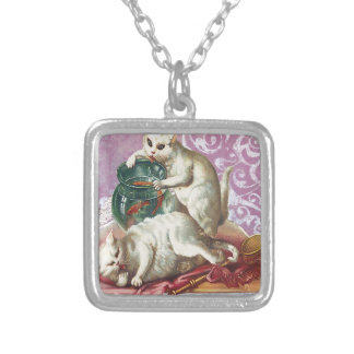 Pink Victorian Cats Fish Bowl Square Pendant Necklace