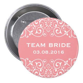 Pink Victorian Floral Border Team Bride Button