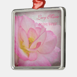 Pink Victorian Rose Metal Ornament