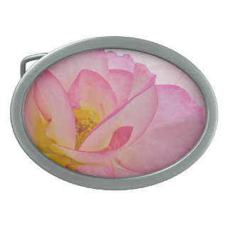 Pink Victorian Rose Oval Belt Buckle