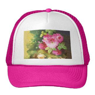 Pink Victorian Rose Trucker Hat