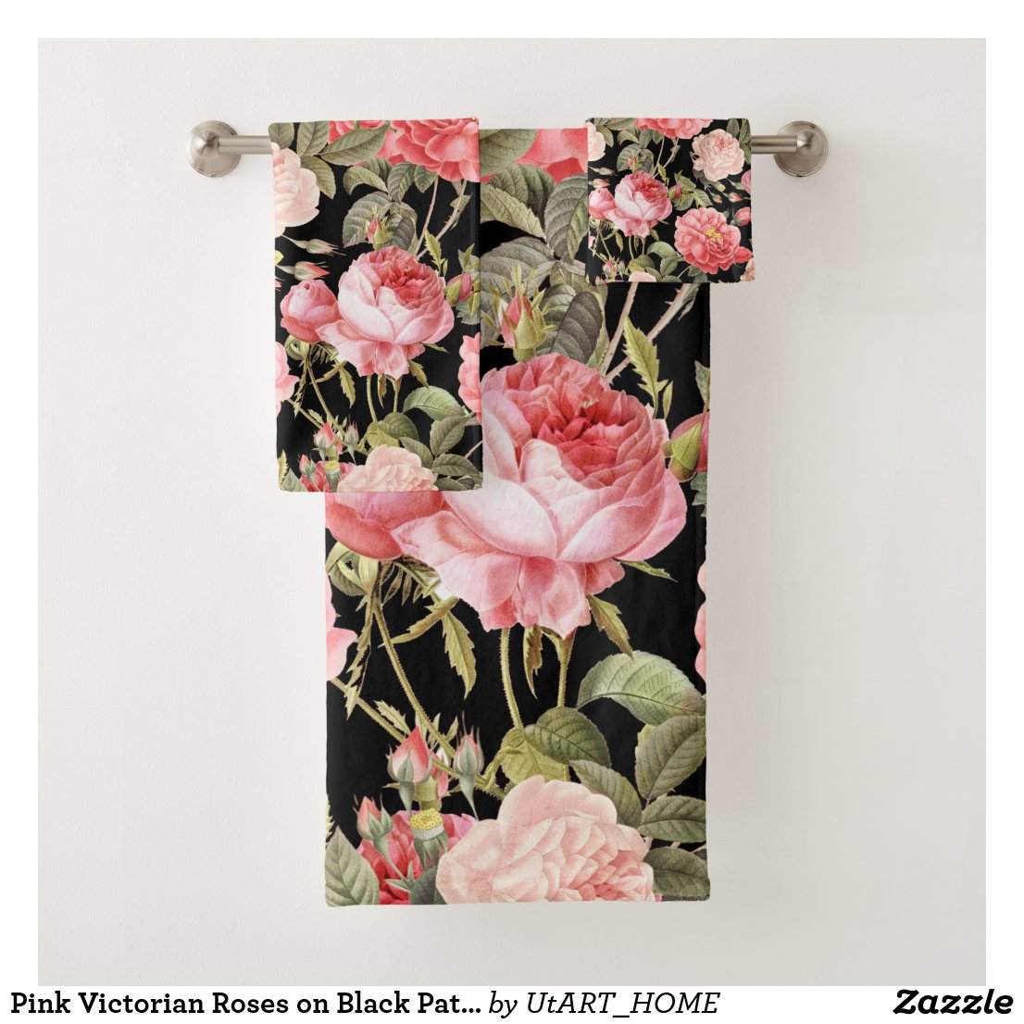 Pink Victorian Roses on Black Pattern Bath Towel Set