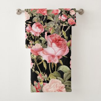 Pink Victorian Roses on Black Pattern Bath Towel Set