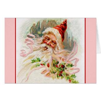 Pink Victorian Santa Card