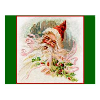 Pink Victorian Santa Postcard