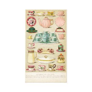 Pink Victorian Tea Service, Vintage Wall Art