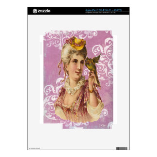 Pink Victorian Woman Holding Green Parrot iPad 3 Decals