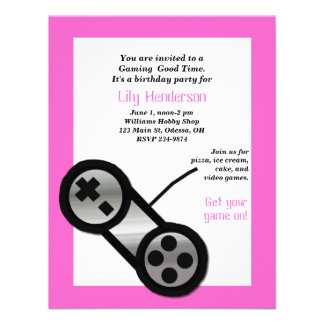 Pink Video Gaming Party Invitation
