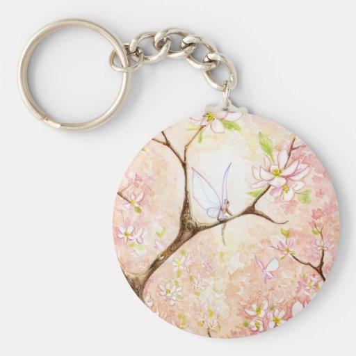 Pink View Blossom Basic Round Button Keychain