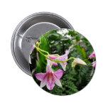 Pink Vine Flower Pinback Button